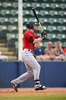 Birmingham Barons first baseman Danny Hayes (9) at bat during a game against the Biloxi Shuckers on May 24, 2015 at Joe Davis Stadium in Huntsville, Alabama.  Birmingham defeated Biloxi 6-4 as the Shuckers are playing all games on the road, or neutral sites like their former home in Huntsville, until the teams new stadium is completed.  (Mike Janes/Four Seam Images)