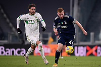 Manuel Locatelli of US Sassuolo and Dejan Kulusevski of Juventus FC compete for the ball during the Serie A football match between Juventus FC and US Sassuolo Calcio at Allianz stadium in Torino (Italy), January 10th, 2021. Photo Federico Tardito / Insidefoto