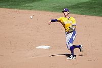 LSU Tigers second baseman Jared Foster (17) ACTION during the NCAA College baseball World Series against the Cal State Fullerton on June 16, 2015 at TD Ameritrade Park in Omaha, Nebraska. LSU defeated Fullerton 5-3. (Andrew Woolley/Four Seam Images)
