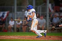 South Dakota State Jackrabbits designated hitter Luke Ira (1) bats during a game against the Northeastern Huskies on February 23, 2019 at North Charlotte Regional Park in Port Charlotte, Florida.  Northeastern defeated South Dakota State 12-9.  (Mike Janes/Four Seam Images)