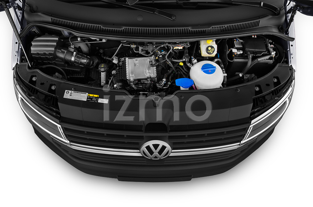 Car Stock 2020 Volkswagen Transporter - 4 Door Passenger Van Engine  high angle detail view