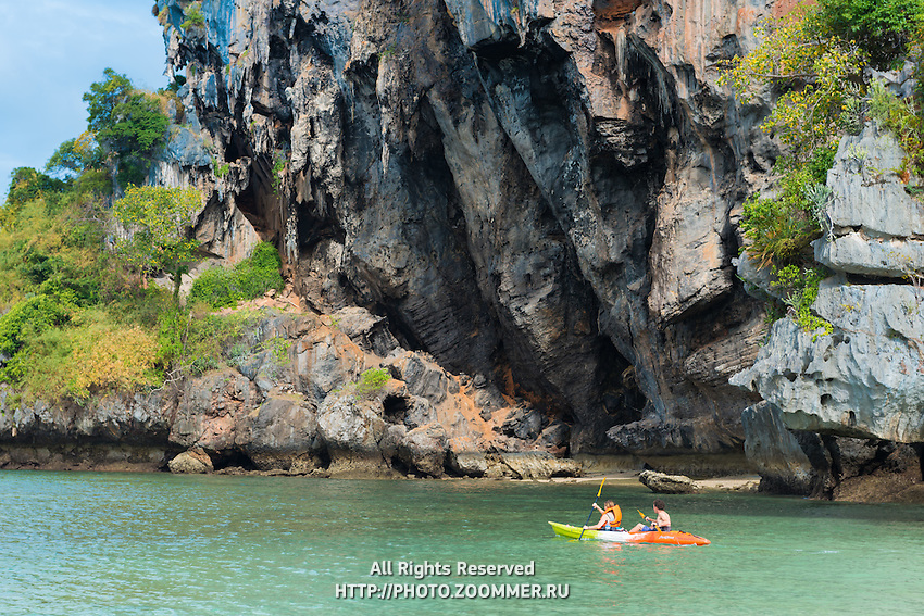 Tourists kayaking near Phra Nang bech in Krabi, Thailand