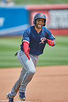 José Godoy (27) of the Tacoma Rainiers rounds the bases against the Salt Lake Bees at Smith's Ballpark on May 16, 2021 in Salt Lake City, Utah. The Bees defeated the Rainiers 8-7. (Stephen Smith/Four Seam Images)