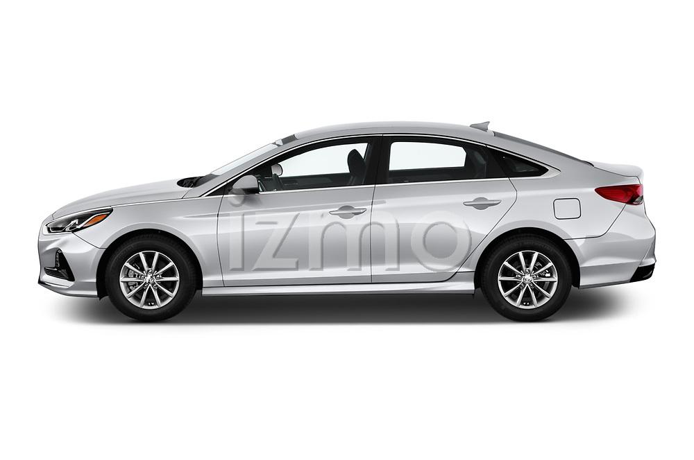 Car driver side profile view of a 2018 Hyundai Sonata Eco 4 Door Sedan