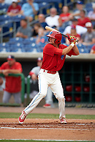 Clearwater Threshers center fielder Mark Laird (6) at bat during a game against the Palm Beach Cardinals on April 15, 2017 at Spectrum Field in Clearwater, Florida.  Clearwater defeated Palm Beach 2-1.  (Mike Janes/Four Seam Images)