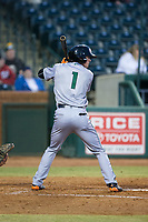 Logan Baldwin (1) of the Augusta GreenJackets at bat against the Greensboro Grasshoppers at First National Bank Field on April 10, 2018 in Greensboro, North Carolina.  The GreenJackets defeated the Grasshoppers 5-0.  (Brian Westerholt/Four Seam Images)
