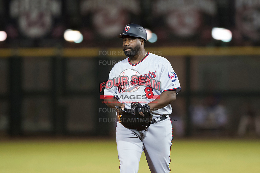 Salt River Rafters manager Tommy Watkins (8), of the Minnesota Twins organization, during an Arizona Fall League game against the Scottsdale Scorpions at Scottsdale Stadium on October 12, 2018 in Scottsdale, Arizona. Scottsdale defeated Salt River 6-2. (Zachary Lucy/Four Seam Images)