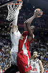 Real Madrid's Andres Nocioni (l) and Olympiacos Piraeus' Bryant Dunston during Euroleague Final Match. May 15,2015. (ALTERPHOTOS/Acero)