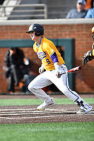 Western Illinois Adam Juran (5) swings at a pitch during a game against the University of Tennessee at Lindsey Nelson Stadium on February 15, 2020 in Knoxville, Tennessee. The Volunteers defeated Leathernecks 19-0. (Tony Farlow/Four Seam Images)
