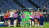 YOKOHAMA, JAPAN - JULY 30: Team United States celebrate their victory and entry into the Olympics semifinal after a game between Netherlands and USWNT at International Stadium Yokohama on July 30, 2021 in Yokohama, Japan.