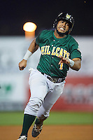 Lynchburg Hillcats catcher Juan De La Cruz (1) running the bases during a game against the Wilmington Blue Rocks on June 3, 2016 at Judy Johnson Field at Daniel S. Frawley Stadium in Wilmington, Delaware.  Lynchburg defeated Wilmington 16-11 in ten innings.  (Mike Janes/Four Seam Images)