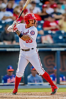 7 March 2019: Washington Nationals infielder Jose Sanchez at bat during a Spring Training Game against the New York Mets at the Ballpark of the Palm Beaches in West Palm Beach, Florida. The Nationals defeated the visiting Mets 6-4 in Grapefruit League, pre-season play. Mandatory Credit: Ed Wolfstein Photo *** RAW (NEF) Image File Available ***