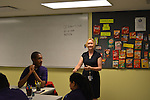 As part of the H.E.A.R.T. partnership with HISD, 17 high school students with disabilities are working and learning on the job at the Houston Food Bank. They spend part of each week in class with HISD teacher Michelle Stantial.