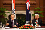 21 January 2013, New Delhi, India; Australian Foreign Minister The Hon. Bob Carr speaks to media at a press conference with Indian Minister for External Affairs , Mr. Salman Khushid after a bilateral meeting during Mr. Carr's visit to India. Picture by Graham Crouch