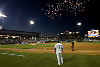 Homerun fireworks on Monday April 11th, 2011 at Dell Diamond in Round Rock Texas.  (Photo by Andrew Woolley / Four Seam Images)