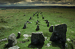 The Graveyard also known a The Cemetery at Cawsand Beacon, Nr South Zeal, Dartmoor  Devon England. At the head of this Bronze Age triple stone row there are the remains of a burial cyst.