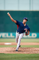 Potomac Nationals starting pitcher Joan Baez (18) delivers a pitch during the first game of a doubleheader against the Lynchburg Hillcats on June 9, 2018 at Calvin Falwell Field in Lynchburg, Virginia.  Lynchburg defeated Potomac 5-3.  (Mike Janes/Four Seam Images)