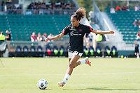 CARY, NC - SEPTEMBER 12: Jazmeen Ryan #23 of the Portland Thorns warms up before a game between Portland Thorns FC and North Carolina Courage at WakeMed Soccer Park on September 12, 2021 in Cary, North Carolina.