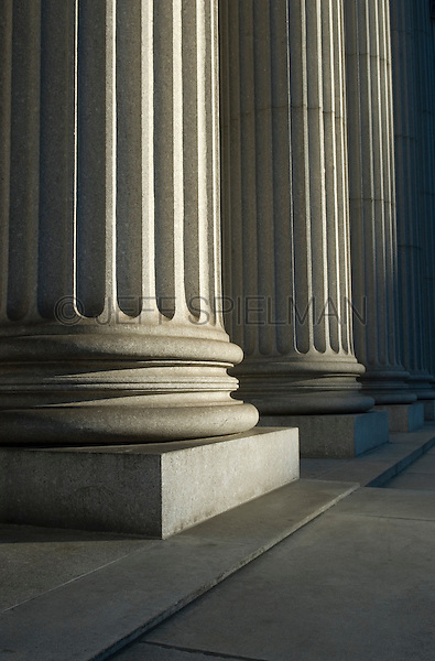 AVAILABLE FROM GETTY IMAGES FOR COMMERCIAL AND EDITORIAL LICENSING.  Please go to www.gettyimages.com and search for image # 109491603.<br /> <br /> Detail of Courthouse Columns, Foley Square, Lower Manhattan, New York City, New York State, USA