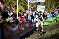 race leader (and eventual winner) Jolien Verschueren (BEL/Young Telenet-Fidea) coming down the Koppenberg<br /> <br /> Elite Women's race<br /> Koppenbergcross 2015
