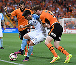 BRISBANE, AUSTRALIA - OCTOBER 30: Corey Brown of the Roar and Bruno Fornaroli of Melbourne compete for the ball during the round 5 Hyundai A-League match between the Brisbane Roar and Melbourne City at Suncorp Stadium on November 4, 2016 in Brisbane, Australia. (Photo by Patrick Kearney/Brisbane Roar)