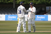 Tom Westley (R) and Dan Lawrence enjoy a useful partnership for Essex during Essex CCC vs Durham CCC, LV Insurance County Championship Group 1 Cricket at The Cloudfm County Ground on 16th April 2021