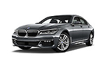 Stock pictures of low aggressive front three quarter view of 2016 BMW 7 Series 4 Door Sedan Low Aggressive