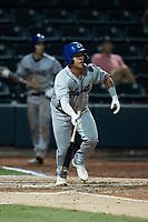 JC Correa (11) of the Asheville Tourists at bat against the Winston-Salem Dash at Truist Stadium on September 17, 2021 in Winston-Salem, North Carolina. (Brian Westerholt/Four Seam Images)