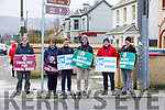Peter Stuart, Mary Brosnan, Mike Ahern, Brendan Guilfoyle, James Prendergast and Gary Forde on strike at the IT South campus on Tuesday.
