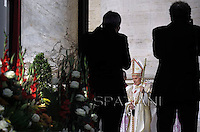 Pope Benedict XVI named today seven new saints, Kateri Tekakwitha of the US, Jacques Berthieu of France, Maria Anna Cope of Germany, Pedro Calungsod from the Philippines, Maria Schaffer of Germany, Giovanni Battista Piamarta of Italy, Maria del Carmen of Spain, in St. Peter square at the Vatican, 21 October, 2012