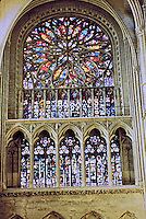 Amiens Cathedral--Rose window of stained glass. Gothic design