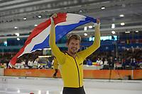 SCHAATSEN: HEERENVEEN: 27-01-2019, IJsstadion Thialf, NK Allround&Sprint, Douwe de Vries, ©foto Martin de Jong SCHAATSEN: HEERENVEEN: 27-01-2019, IJsstadion Thialf, NK Allround&Sprint, huldiging, ©foto Martin de Jong