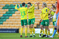 9th January 2021; Carrow Road, Norwich, Norfolk, England, English FA Cup Football, Norwich versus Coventry City; Jordan Hugill of Norwich City celebrates with Kenny McLean after he scores for 2-0 in the 7th minute
