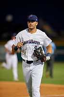 Pensacola Blue Wahoos outfielder Trevor Larnach (9) during a Southern League game against the Mobile BayBears on July 25, 2019 at Blue Wahoos Stadium in Pensacola, Florida.  Pensacola defeated Mobile 3-2 in the second game of a doubleheader.  (Mike Janes/Four Seam Images)