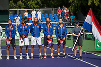 Moscow, Russia, 15 th July, 2016, Tennis,  Davis Cup Russia-Netherlands, First rubber: Team Netherlands during persentation <br /> Photo: Henk Koster/tennisimages.com