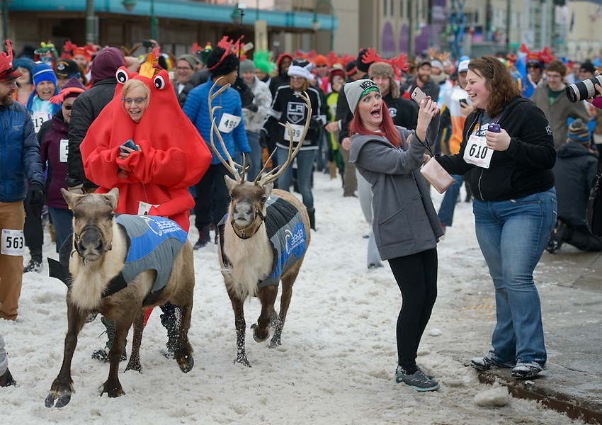 Running with the Reindeer-- but first let me take a selfie.  2016 Running of the Reindeer in downtown Anchorage. Photo by James R. Evans