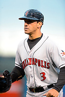 Indianapolis Indians coach Brian Esposito #3 during a game against the Louisville Bats on April 19, 2013 at Louisville Slugger Field in Louisville, Kentucky.  Indianapolis defeated Louisville 4-1.  (Mike Janes/Four Seam Images)