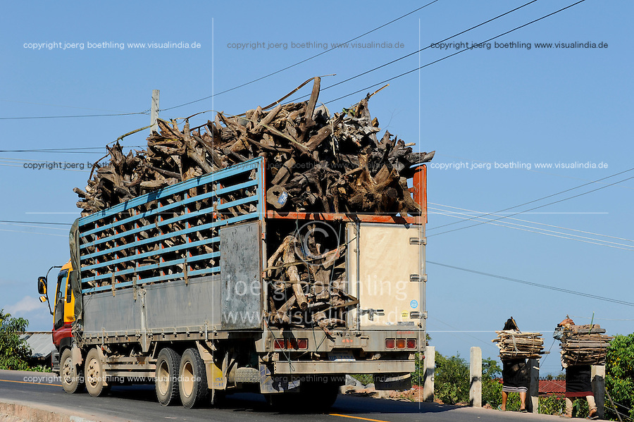 LAO PDR, Oudomxay, Khmu village Houyta, transport of root timber to China / LAOS, Provinz Oudomxay, Dorf Houyta , Transport von Holz und Wurzelholz nach China