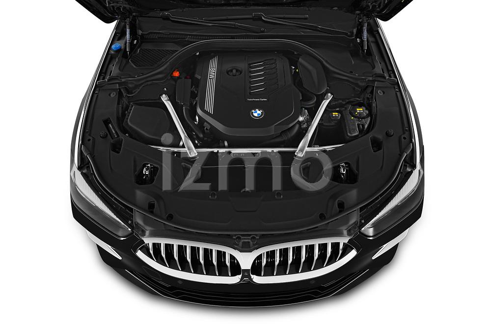 Car stock 2019 BMW 8 Series Basis 4 Door Sedan engine high angle detail view