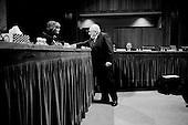 Washington DC, .District of Columbia.USA.January 31, 2007..US Senator Barbara Boxer Democrat from California and Henry Kissinger shake hands after a Senate hearing concerning the war in Iraq....