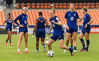 HOUSTON, TX - JUNE 9: Becky Sauerbrunn #4 of the USWNT dribbles the ball during a training session at BBVA Stadium on June 9, 2021 in Houston, Texas.