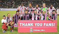 CARSON, CA - October 20, 2012: Chivas USA starting line up for the Chivas USA vs Colorado Rapids match at the Home Depot Center in Carson, California. Final score, Chivas USA 0, Colorado Rapids 2.