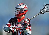 17 March 2012: Sacred Heart University Pioneer Midfielder Matt Gannon, a Sophomore from Huntington, NY, in action against the University of Vermont Catamounts at Virtue Field in Burlington, Vermont. The visiting Pioneers rallied to tie the score at 11 with five unanswered goals, dominating the 4th period. However the Cats scored with only 10 seconds remaining in the game to defeat the Pioneers 12-11 in their non-conference matchup. Mandatory Credit: Ed Wolfstein Photo
