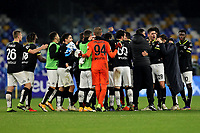 Sepzia players celebrate the victory at the end of the Serie A football match between SSC Napoli and Spezia Calcio at stadio Diego Armando Maradona in Napoli (Italy), January 06th, 2021. <br /> Photo Cesare Purini / Insidefoto