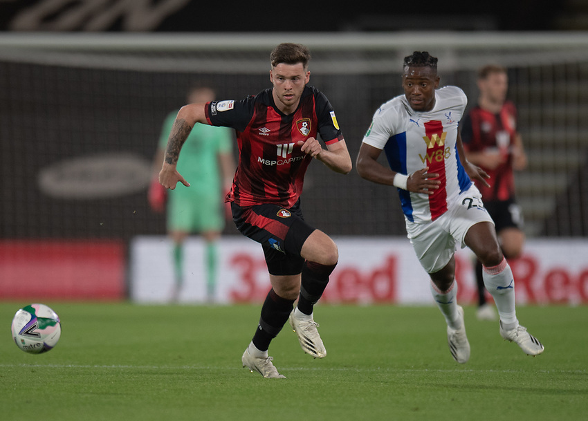Bournemouth's Jack Simpson (left) under pressure from Crystal Palace's Michy Batshuayi (right)<br /> <br /> Photographer David Horton/CameraSport<br /> <br /> Carabao Cup Second Round Southern Section - Bournemouth v Crystal Palace - Tuesday 15th September 2020 - Vitality Stadium - Bournemouth<br />  <br /> World Copyright © 2020 CameraSport. All rights reserved. 43 Linden Ave. Countesthorpe. Leicester. England. LE8 5PG - Tel: +44 (0) 116 277 4147 - admin@camerasport.com - www.camerasport.com