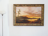 """Reproduction of Sunset by Frederic Edwin Church <br /> Image Dims: 28"""" x 42"""" Framed Dims: 36"""" x 50""""  Frederic Edwin Church (1826 - 1900) was an American landscape painter, who was part of the Hudson River School movement."""