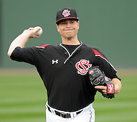 Pitcher Spencer Jordan (28) of the South Carolina Gamecocks prior to a game against the Clemson Tigers on Tuesday, March 8, 2011, at Fluor Field in Greenville, S.C.  Photo by Tom Priddy / Four Seam Images