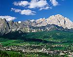 Italy, Veneto, Dolomites, Cortina d'Ampezzo and Monte Sorapis (3.205 m)