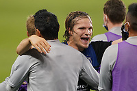 SAN JOSE, CA - NOVEMBER 4: Florian Jungwirth #23 of the San Jose Earthquakes celebrates with teammates during a game between Los Angeles FC and San Jose Earthquakes at Earthquakes Stadium on November 4, 2020 in San Jose, California.