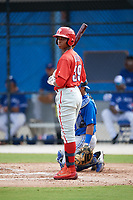 Philadelphia Phillies Malvin Matos (39) at bat during an Instructional League game against the Toronto Blue Jays on October 7, 2017 at the Englebert Complex in Dunedin, Florida.  (Mike Janes/Four Seam Images)